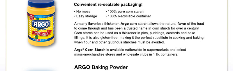 Argo & Kingsford's Corn Starch | Over 100 Years of Quality